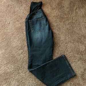 Indigo Blue Maternity Petite Straight Cut Jeans